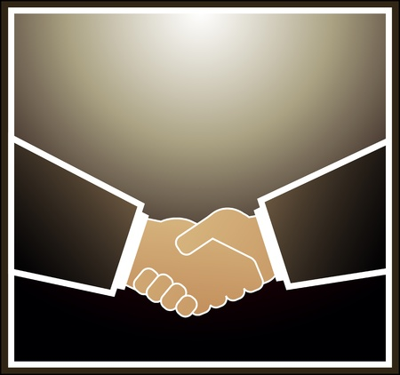Image of handshake in brown quadrate frame Stock Vector - 12340659