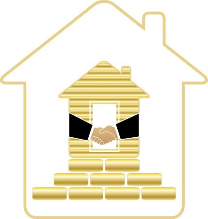 materiali edili: simbolo della casa ricca di mattoni d'oro e stretta di mano