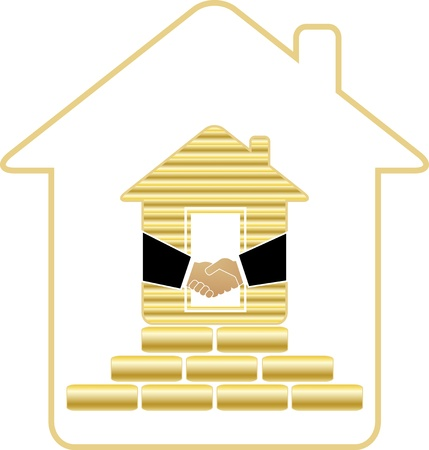 symbol rich house with golden bricks and handshake Vector
