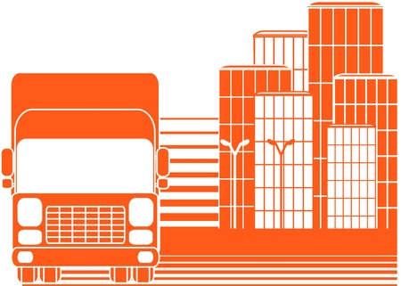 trucking: red sign delivery with silhouette of lorry and city Illustration