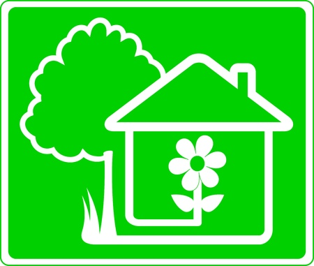 tree logo: green sign of beautiful country house and garden