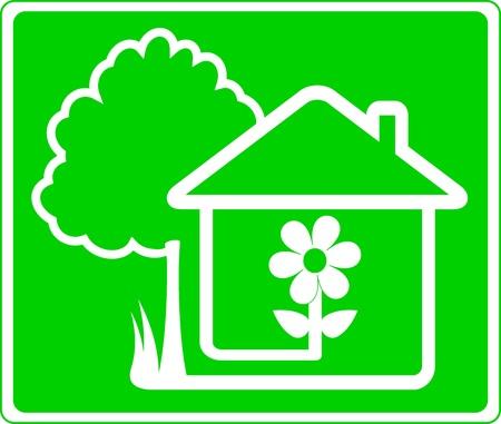 logo casa: segno verde della bella casa di campagna e giardino