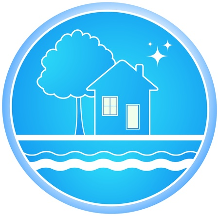sanitation: blue roun sign of clean environment with house and tree