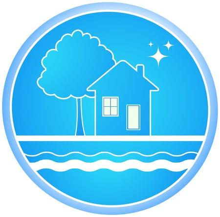 sanificazione: cartello blu roun di ambiente pulito con la casa e l'albero Vettoriali