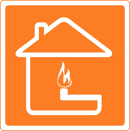 combustible: red sign of fire and gas in house Illustration