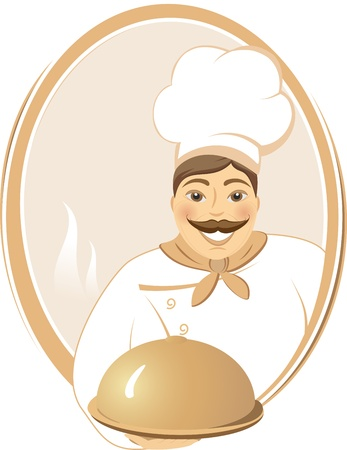 smiling cook with hot dish in brown round frame Vector