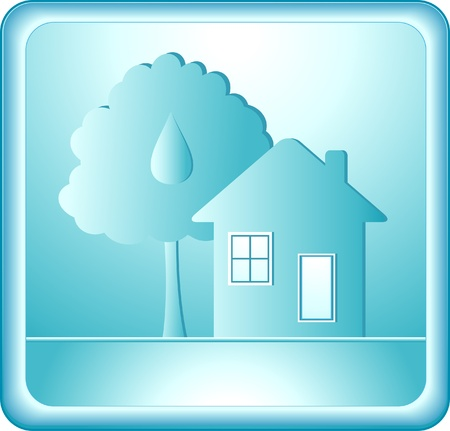 silhouette of tree and house on blue background Vector