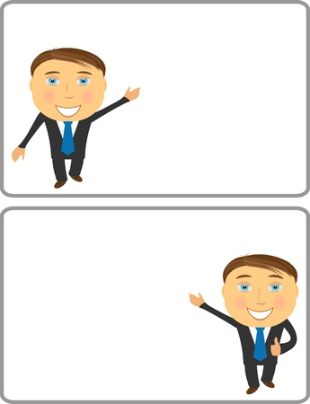 businessperson: successful cartoon businessman copy space for text