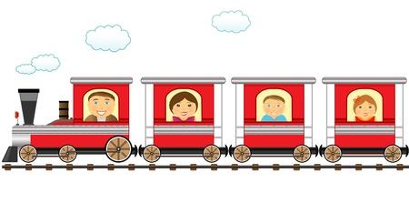 eisenbahn: s��e rote Zug und fr�hliche Cartoon-Familie