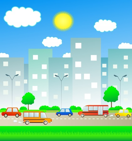 schoolbus: transport in summer city with sun and cloud Illustration