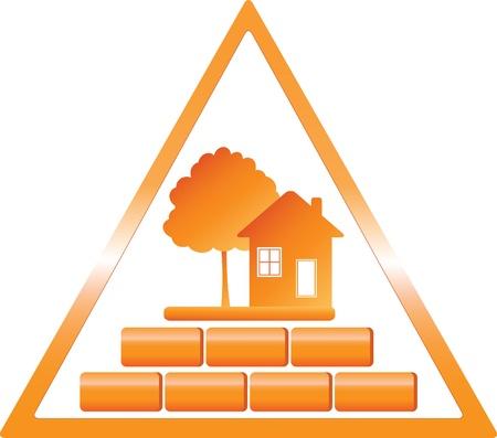 triangular warning sign: triangular construction sign with tree house and bricks