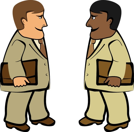 indian professional: two international businessman standing with portfolio isolated Illustration