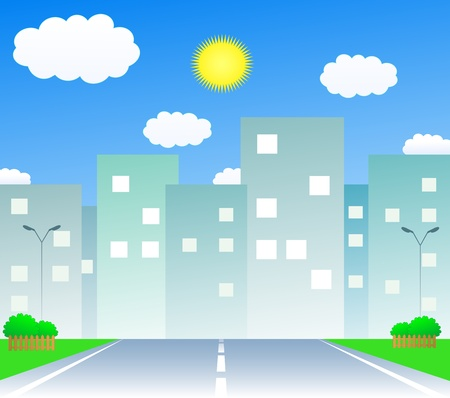 urban road: cartoon urban background with summer road and houses