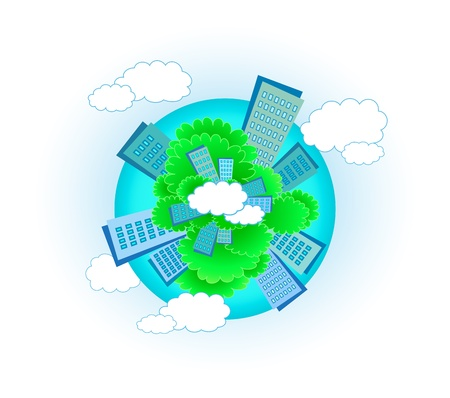 cute urban planet with skyscraper, tree and cloud Stock Vector - 12344432