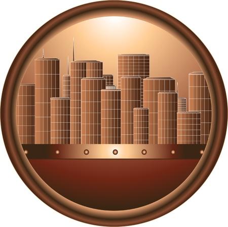 round brown urban sign in frame