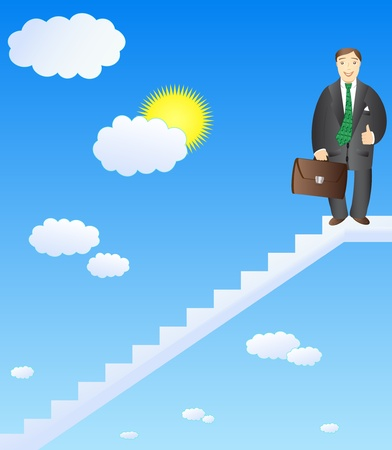 ladder of success: cheerful businessman on top of success