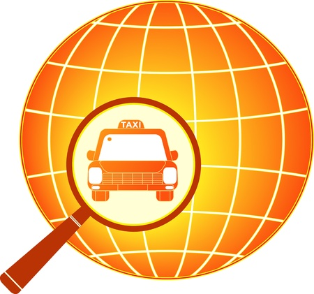 symbol of international taxi car with planet silhouette Stock Vector - 12344362