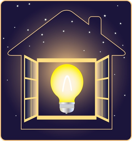 symbol of electricity and energy with stars on dark background Illustration