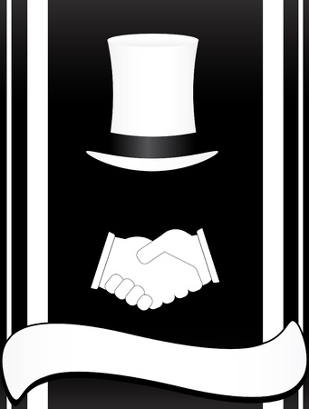 hat and handshake on a black background
