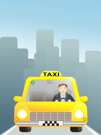 taxi in big city, skyscrapers Vector