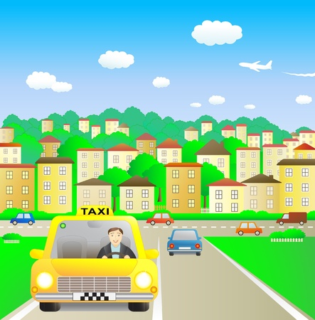 happy driver: Funny taxi driver in summer city Illustration