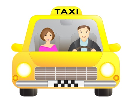 llegar tarde: Taxi de coches con conductor y el pasajero, aislados