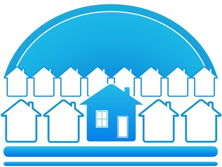 blue eco symbol with sun and many house Vector