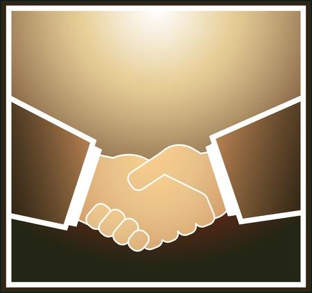Image of handshake in brown quadrate frame Stock Vector - 12340661