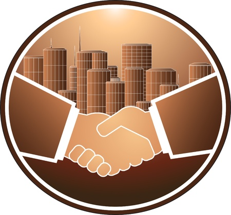 emphasis: business handshake on the background of a large city