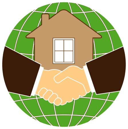 silhouette eco planet and house with handshake Vector