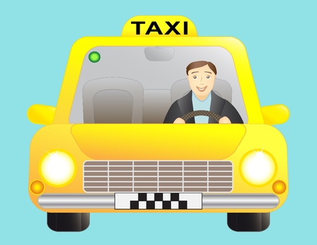 taxi cab: taxi and driver man Illustration