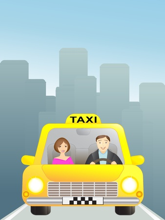 happy driver: taxi with woman passenger in the big city