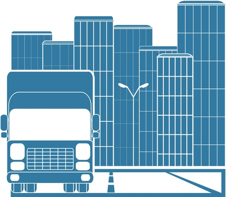 silhouette of truck on background of modern city Vector