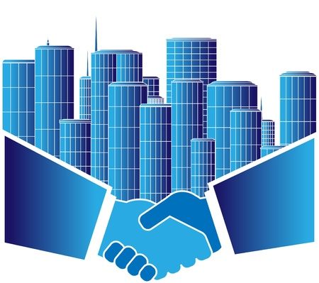 firma de convenio urbanístico con apretón de manos Ilustración de vector