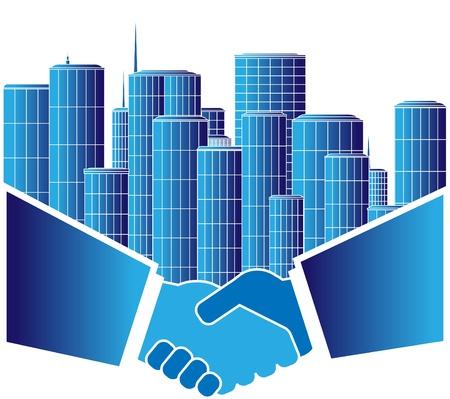 logo batiment: signer d'accord urbaine avec poignée de main Illustration