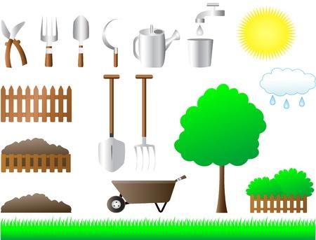 kompost: bunte Reihe von Werkzeugen f�r Haus-und Gartenger�te