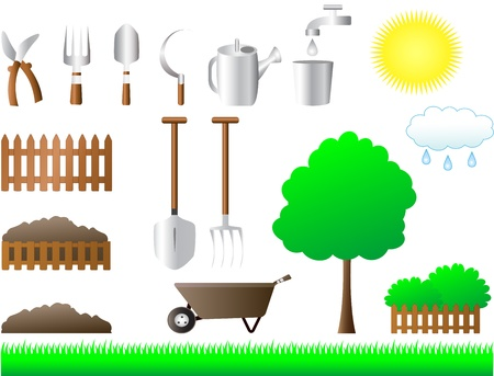 manure: colorful set of tools for house and garden equipment