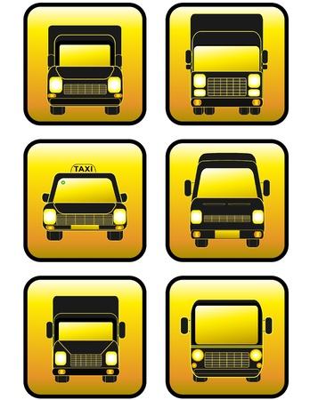 set of six beautiful transport buttons Vector