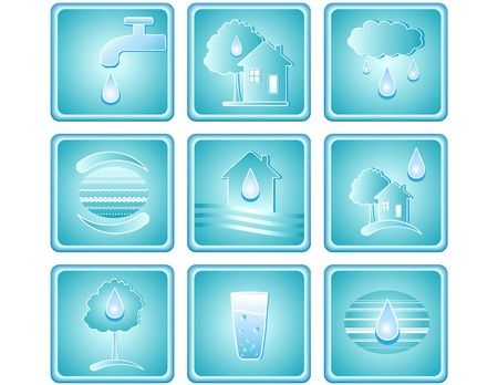 Blue set of water icons with drop, house, tree and planet