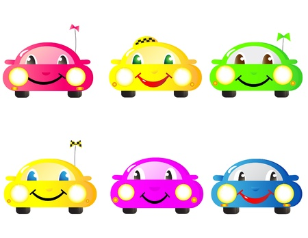 funny car: Colorful set of cute emotional woman cars Illustration