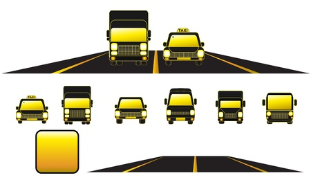constructor set transport object with cars, road and button Stock Vector - 12344412