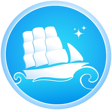 rigging: Big ship and blue sea. Symbol yacht club. Illustration