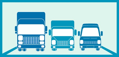 truck on highway: blue sign cargo freight with three transport objects