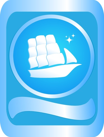 rigging: The sign of sailing ship on a blue background