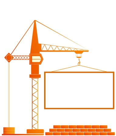 signboard of construction with crane and bricks