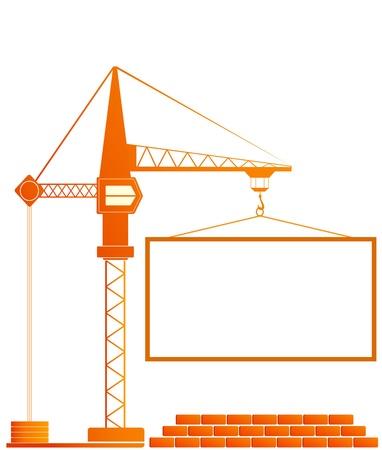 signboard of construction with crane and bricks Векторная Иллюстрация