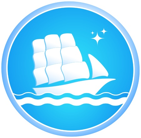 White ship on the waves Stock Vector - 12340632