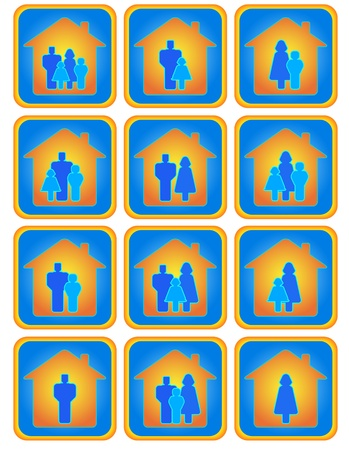 Cute set of many positive family buttons Stock Vector - 12344442