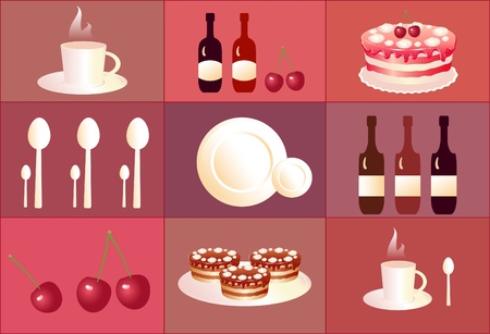 kitchen ware: set of cute icons desert. Cake, cherry, cup, spoon.