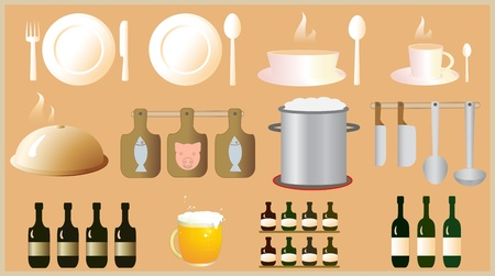 set of object for kitchen and restaurant Vector
